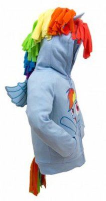 70806048bd6 Amazon.com  My Little Pony Hoodie Rainbow Dash Face Kids Sky Blue Costume  Sweatshirt  Clothing