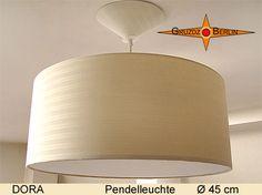 Leuchte DORA, Ø 45 cm Pendellampe mit Diffusor und Baldachin gestreift. Baumwolle mit zartem und edlem Streifenjacquard in hellbeige verbreitet eine elegante Stimmung im Raum.