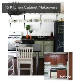 Roundup: 10 Inspiring Kitchen Cabinet Makeovers Thinking of doing this to my kitchen when my hubby deploys as a surprise. All White Kitchen, White Kitchen Cabinets, Painting Kitchen Cabinets, Wood Cabinets, Kitchen Dining, Kitchen Decor, Upper Cabinets, Kitchen Ideas, Kitchen Cabinet Inspiration