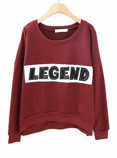 Wine Red Long Sleeve LEGEND Print Crop Sweatshirt EUR€19.42