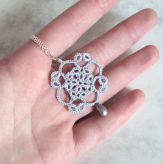 Tudor Lace Pendant in Tatting - Elizabeth. $20.00, via Etsy.