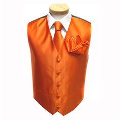 the groomsmen will look stunning in this Orange Vests, Orange Tie, Groom Ties, Groom And Groomsmen, Mens Formal Vest, Orange Sorbet, White Tux, Vest And Tie, Girls Dresses