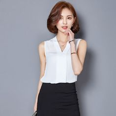 2017 Summer Chiffon Blouse Shirt Women V neck Sleeveless White top Blouses Shirts Female Office. Click visit to buy #Blouse #Shirt #BlouseShirt