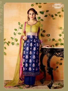 Shonaya Golden & Blue Colour Chiffon Embroidery Semi Stitched salwar Suit