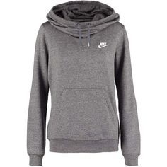 Nike Sportswear Sweatshirt charcoal heather/white ($43) ❤ liked on Polyvore featuring tops, hoodies, sweatshirts, nike top, nike, nike sweatshirts, white sweatshirts and white top