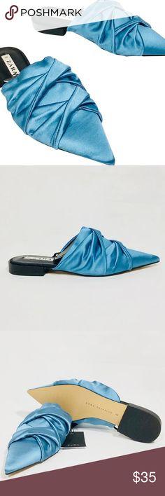 9425a53b77a Zara Sky Blue Knotted Satin Slip On Flat   NWT 6 Zara Sky Blue Knotted Satin