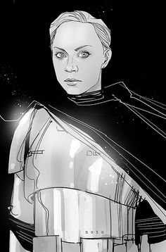 Phil Noto's rendering of Gwendoline Christie's character, Captain Phasma, from Star Wars: The Force Awakens