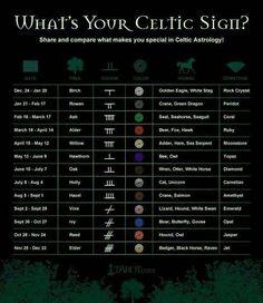 Celtic Astrology Chart.