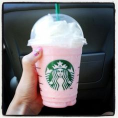The cotton candy frappitiono... u order a vanilla bean frapichino with a shot of raspberry