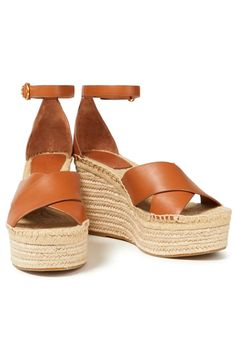Light brown Leather platform wedge espadrilles | Sale up to 70% off | THE OUTNET | TORY BURCH | THE OUTNET Heeled Espadrilles, Designer High Heels, Beach Wear Dresses, Platform Wedge, See By Chloe, Ankle Strap, Bag Accessories, Calves