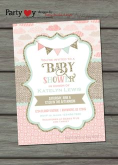Pink Mint and Gold Baby Shower Invitation by PartyInvitesAndMore