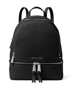 Rhea+Medium+Perforated+Zip+Backpack,+Black+by+MICHAEL+Michael+Kors+at+Neiman+Marcus.