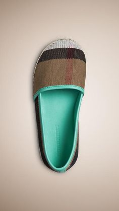 Mint green Canvas Check Espadrilles - Image 1