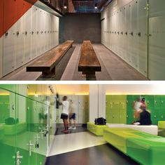 Lockers:Suitable for health and fitness clubs and wellness centers, opaque colored laminated glass lockers are used in wet and dry areas as an alternative to standard hardwood doors. Lock systems provide varying levels of security.