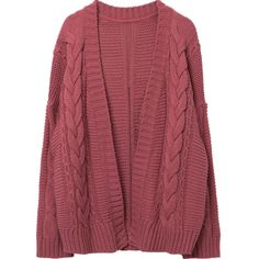 Twist Knit Open Front Cardigan ($38) ❤ liked on Polyvore featuring tops, cardigans, knit cardigan, twist top, open front cardigan, loose tops and red knit cardigan