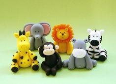 5 Fondant Animals Cake Topper Fondant jungle por SugarDecorByLetty