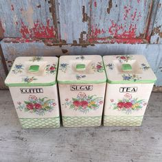Set of three lettered floral ceramic canisters by MulfordCottage