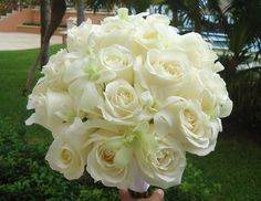Ivory Roses & white Cymbidium orchids, a perfect bouquet...
