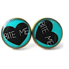 90s Style Internet Culture Rude Conversation Heart Bite Me Earrings... (13 CAD) ❤ liked on Polyvore featuring jewelry, pastel jewelry, pastel goth jewelry, gothic jewelry, goth jewelry and grunge jewelry