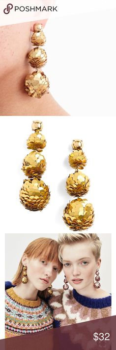 """Brand NWT J. Crew Gold Sequins Ball Drop Earrings With the shape and sparkle of of disco balls and ornaments, these sequin earrings are a party must-have.   Brand new, never used condition.  3"""" drop 1/2"""" smallest width, 1"""" largest width Brass castings/wood beads/PET sequins Surgical steel post back Imported Item #5514788  *bundle with any of my other NWT J. Crew earrings pictured for a better deal! J. Crew Jewelry Earrings"""