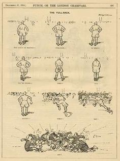 Rugby - the Full Back Rugby Rules, Punch Magazine, Antique Prints, Vintage Art, Cartoon, Illustration, Illustrations, Cartoons, Comics And Cartoons