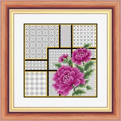 Oriental Peonies and Blackwork - Aida Kit  Do blackwork in light grey, as here. Maybe could be translated into textured stitches? (b lopenwork background stitches currently)