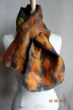 felted scarf neckpiece neck warmer rust green by hipposinhats