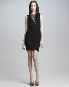 Lace-Panel Jersey Dress by J. Mendel at Neiman Marcus.