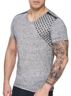 K&D Men Corner Stars Faux Leather Band V-Neck T-shirt -  Gray - FASH STOP