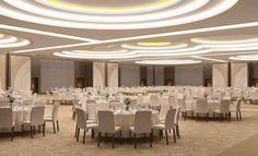 RADISSON BLU RESORT & CONGRESS CENTRE WAS OPENED IN SOCHI Ceiling Ideas, Ceiling Lighting, Multipurpose Hall, Hall Room, Hotel Meeting, Ballroom Wedding, Rooftop Bar, Hospitality Design, Auditorium
