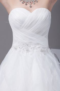Pricess sweetheart neckline full A-line multilayer skirt organza wedding dress  A-line/Princess,Floor Length,Natural,Chapel Train,Strapless,Sweetheart,Sleeveless,Appliques,Ruffles,Organza,Spring,Fall,