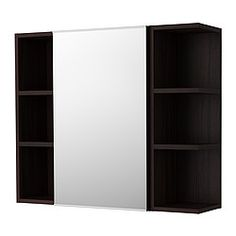 IKEA - LILLÅNGEN, Mirror cabinet 1 door/2 end units, black-brown, , The open shelf unit is perfect for perfume bottles or other things that you use frequently.