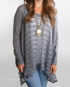This is one of two ways this BEAUTIFUL sweater can be worn; the other is like a cardigan, or oversized shrug. Check it out on the website for more pic sub& more colors. It's so popular they can't keep it in stock!