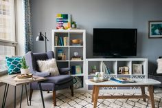 Blue living room, Ikea storage fun and comfy -Before & After: A Chicago Student&. - Ikea DIY - The best IKEA hacks all in one place Small Space Living Room, Ikea Living Room, Small Apartment Living, Living Room Shelves, Small Room Design, Living Room Grey, Small Living, Living Rooms, Cozy Apartment