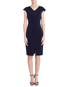 CRESCENT DRESS - NAVY Dresses For Work, Formal Dresses, Work Wardrobe, Cap Sleeves, Size Chart, Curves, Navy, Clothes, Black