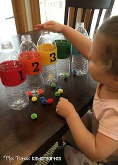 Count and Sort Bottles for practicing counting with little hands {Mrs. Plemons' Kindergarten: Tot School Tuesday: NUMBERS}