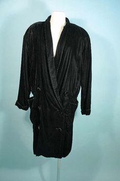 Vintage 80s Black Velvet Flapper Style Opera Coat, Double Breasted Oversize Fit Coat by Norma Kamali, SZ L