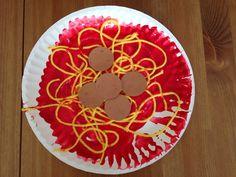 Paper Plate Spaghetti and Meatballs Craft - Preschool Craft - Food Craft