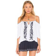 Band of Gypsies Short Sleeve Open Shoulder Top (2,450 PHP) ❤ liked on Polyvore featuring tops, fashion tops, cut out shoulder tops, cut-out shoulder tops, band of gypsies, embroidered top and rayon tops