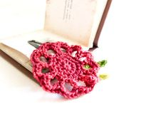 Holiday accessories Burgundy green crochet flower by Mashacrochet, $5.50
