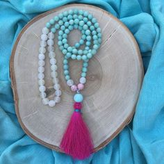 with.truth mala bead necklace  teal by withloveandjoymala on Etsy