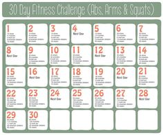 30 Day Fitness Challenge (Abs, Arms  Squats) Taking this challenge along June 1st along with a running challenge #fitnessjunkie