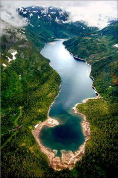 An aerial shot of Juneau, Alaska.