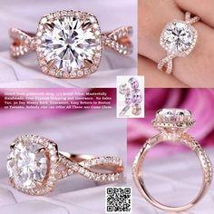 Round FB Moissanite Engagement Ring Diamond Infinite Love Shank 14K Rose Gold 7.5mm