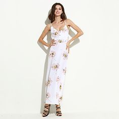 Women's+Beach+Sexy+Swing+Dress,Floral+Strap+Maxi+Sleeveless+White+Polyester+Summer+–+USD+$+17.99