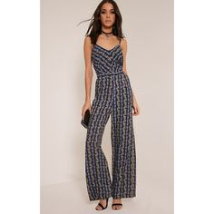 Leeah Blue Stripe Floral Print Jumpsuit ($10.00) ❤ liked on Polyvore featuring jumpsuits, blue, floral jumpsuits, jump suit, blue jump suit, floral print jumpsuit and pink jumpsuits