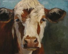 "Dancing Brush - Art by Cheri Wollenberg: Cow Painting of ""Pearl"""
