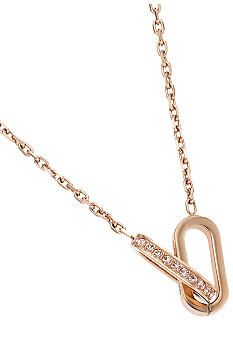 Michael Kors Jewelry Rose Gold Tone Pave Interlocking Pendant Necklace
