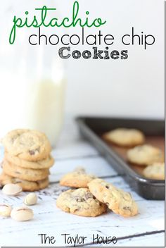 Want a cookie eat a healthier one Pistachio Chocolate Chip Cookies, Pistachio Recipes, Healthy Recipes Köstliche Desserts, Delicious Desserts, Dessert Recipes, Yummy Food, Fun Food, Snack Recipes, My Recipes, Sweet Recipes, Cookie Recipes