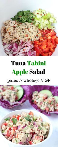 Tuna Tahini Apple Salad - an easy meal that is paleo, gluten free, and Whole30 approved. Perfect for meal prep - Eat the Gains